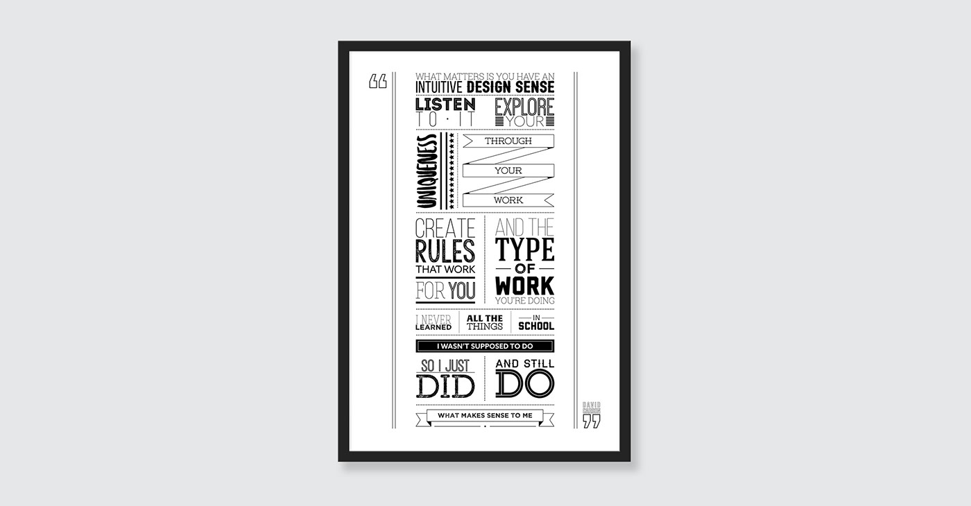 Adobe Portfolio typography   posters Layout graphic design  Quotes type Illustrator David Carson David Jury