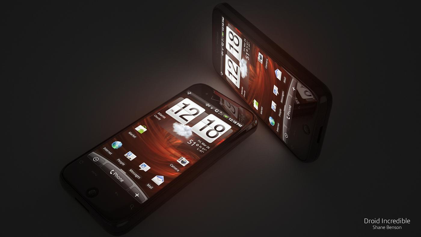 htc Doird mobile phone 3D cinema 4d vray verizon