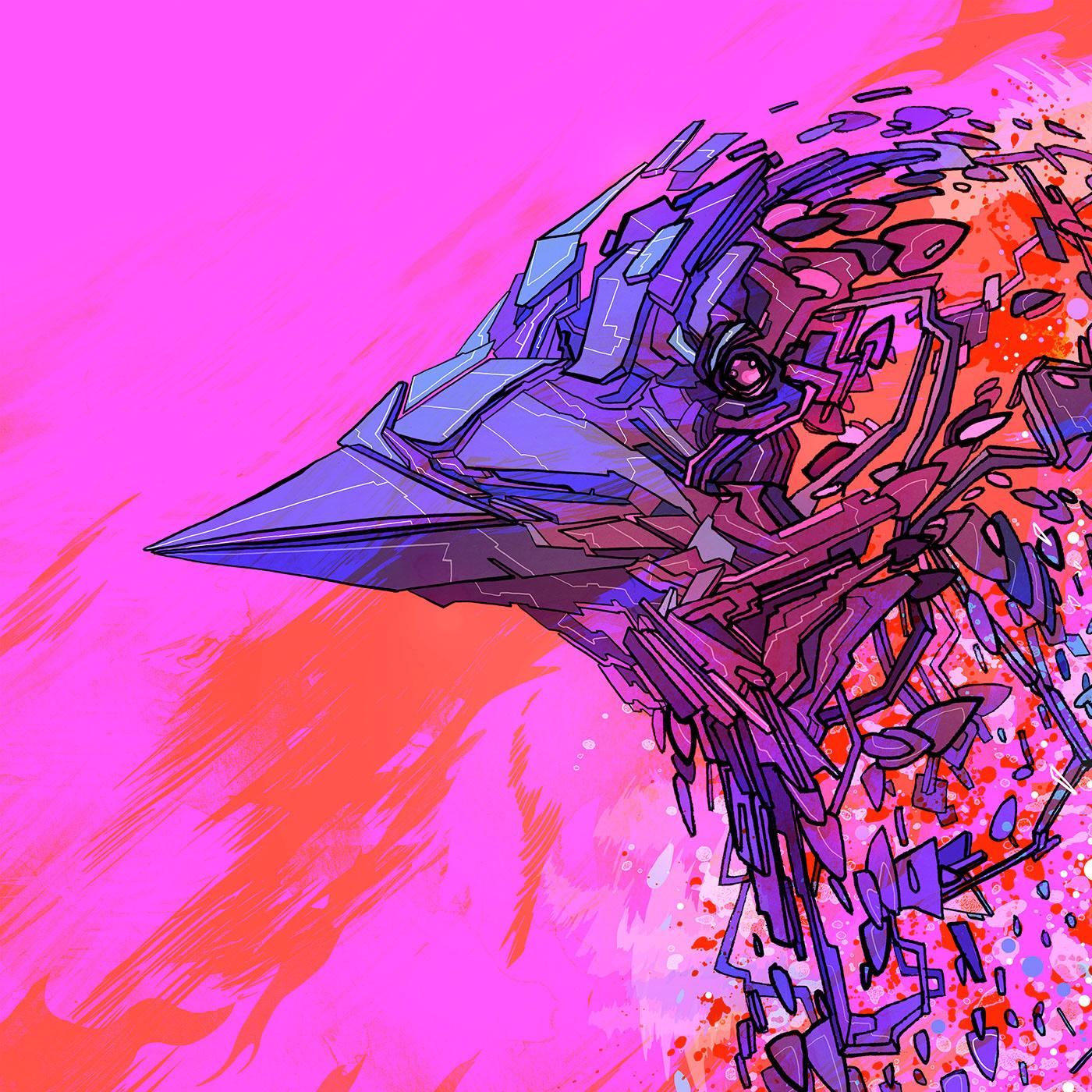 bird free crow Space  planet freedom Digital Drawing draw ink sketch