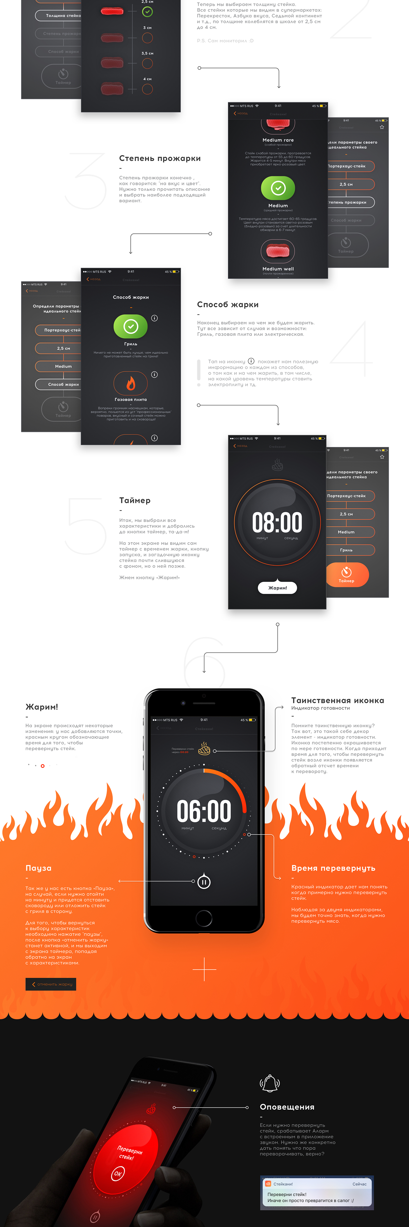 ios material design Mobile app meat UI/UX concept sketch timer Food  art direction