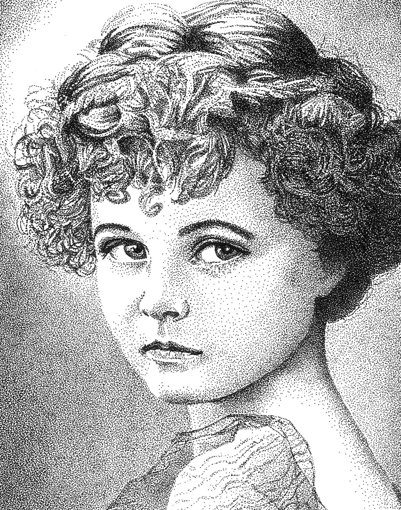 portrait Black&white dotwork stippling pointillismus beauty girl