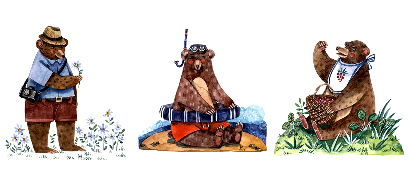 watercolor ILLUSTRATION  bear childrens illustration Bicycle kid illustration cute teddy-bear