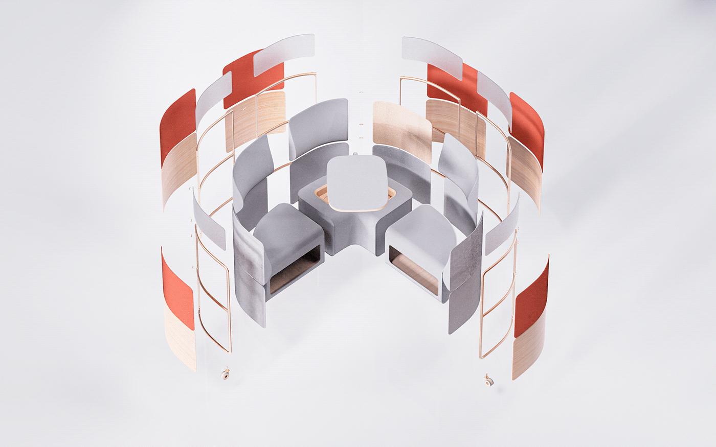 furniture interior design  office furniture product design  rendering worstation COVid design model 3d workstation