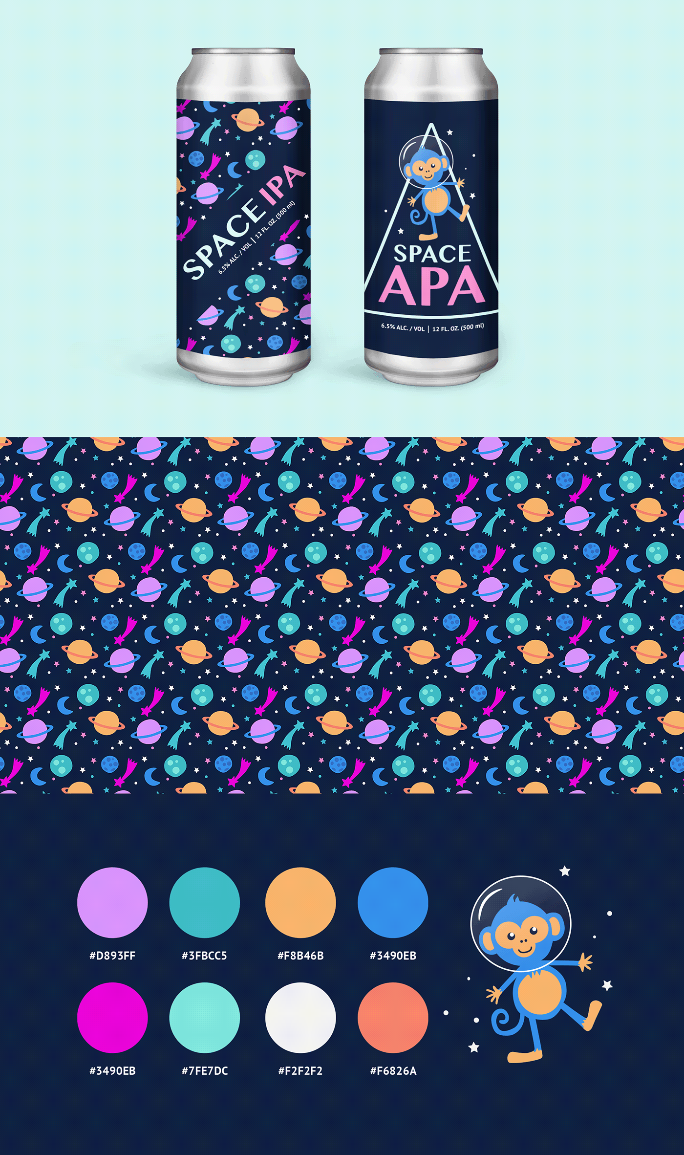 apa beer Label Mockup monkey Packaging pattern Planets Space  stars