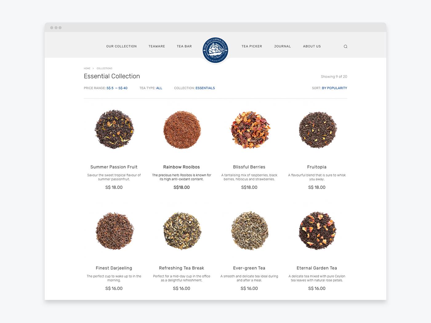 tea Website shop Ecommerce store natural language search comparison cart