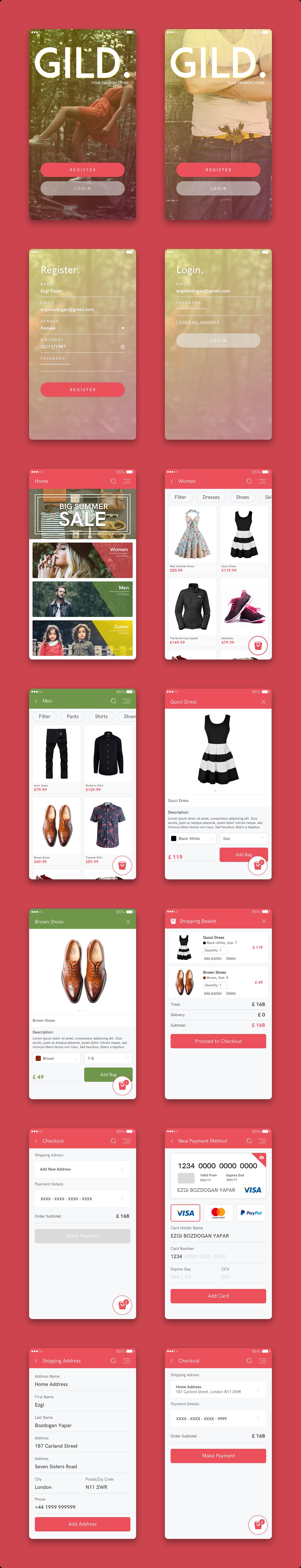 mobile ui design Ecommerce