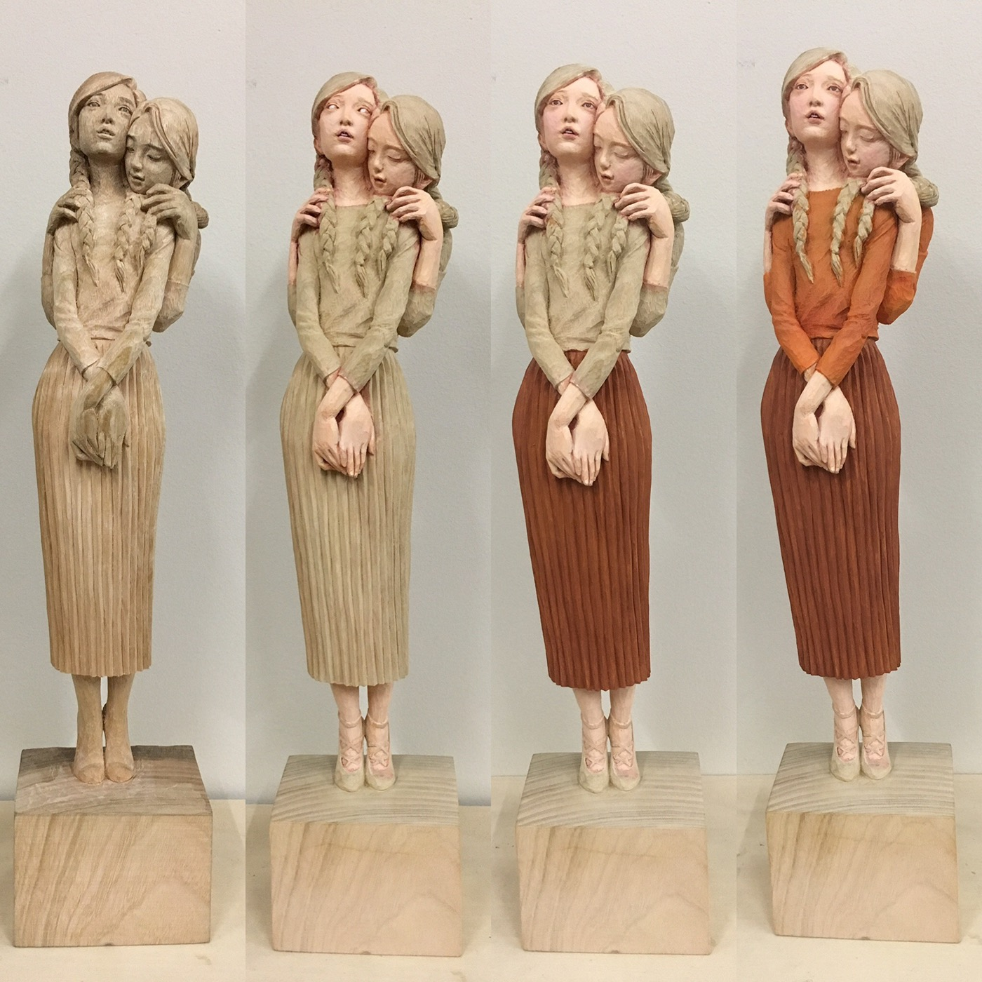 Figurative Wood Sculptures by Yoshitoshi Kanemak