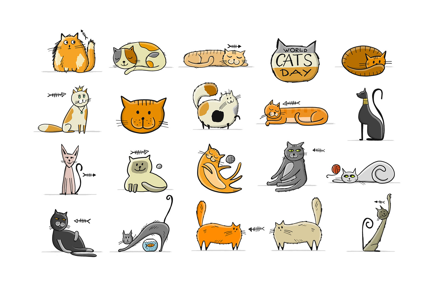 animals Breeds cats Character Collection family ILLUSTRATION  kitten siamese vector