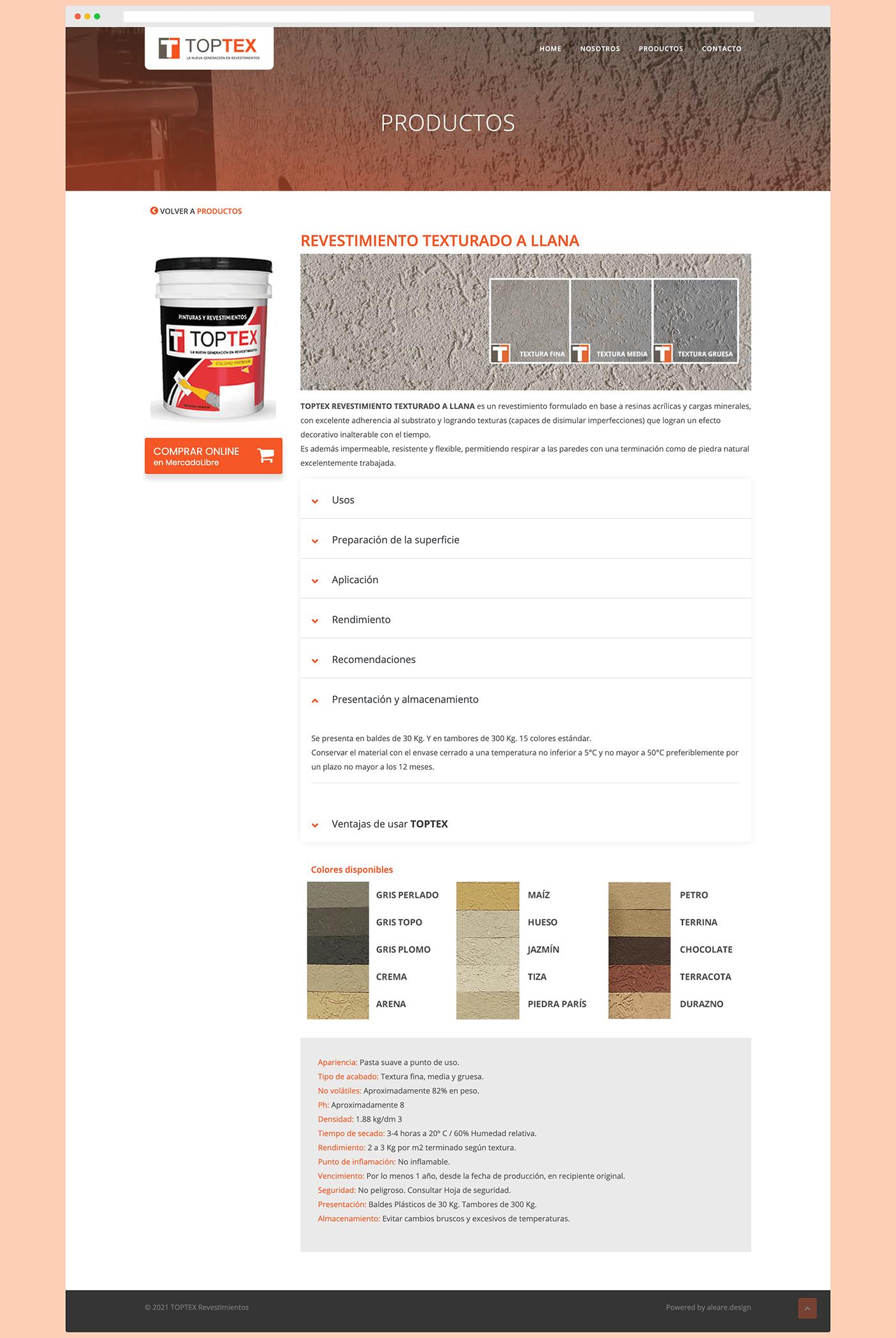 TOPTEX Revestimientos - Sitio web institucional - Productos