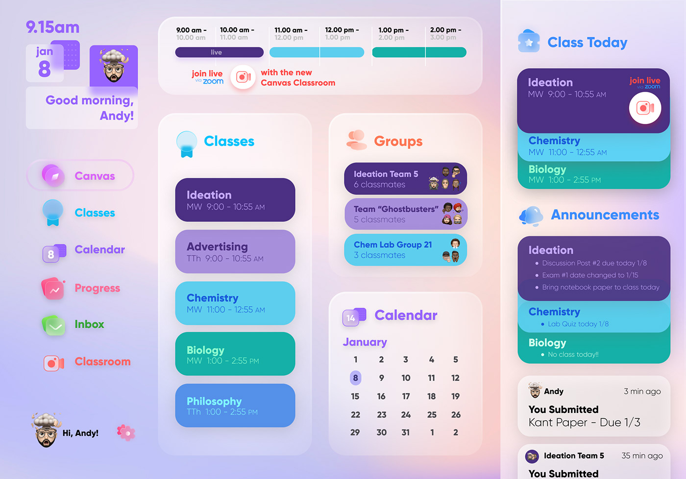 canvas dashboard Education learning learning app UI UI/UX