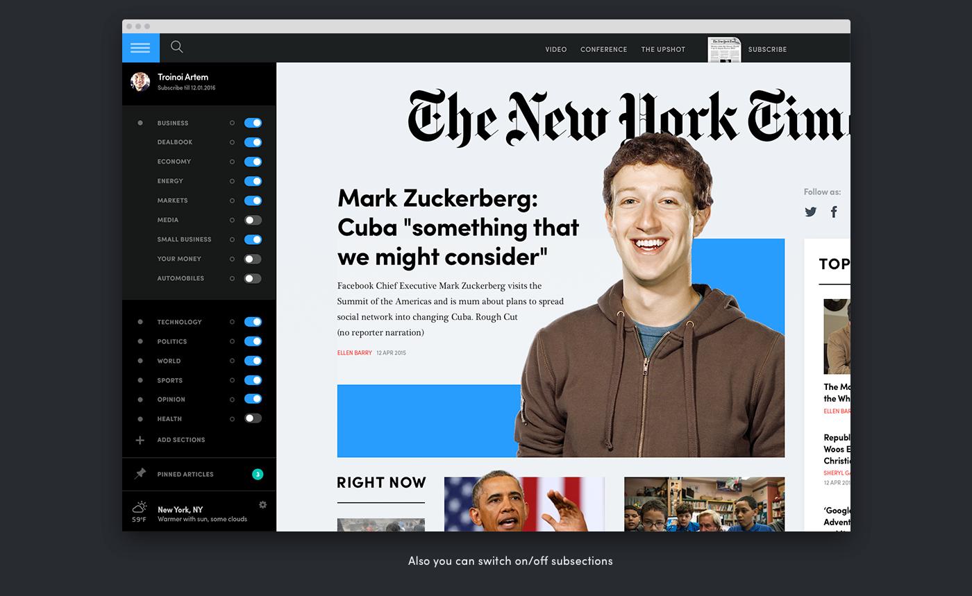 NYTimes New York Times newspapper Rethinking digital newspapper news webnews digital clean black Custom UI ux flat Ps25Under25