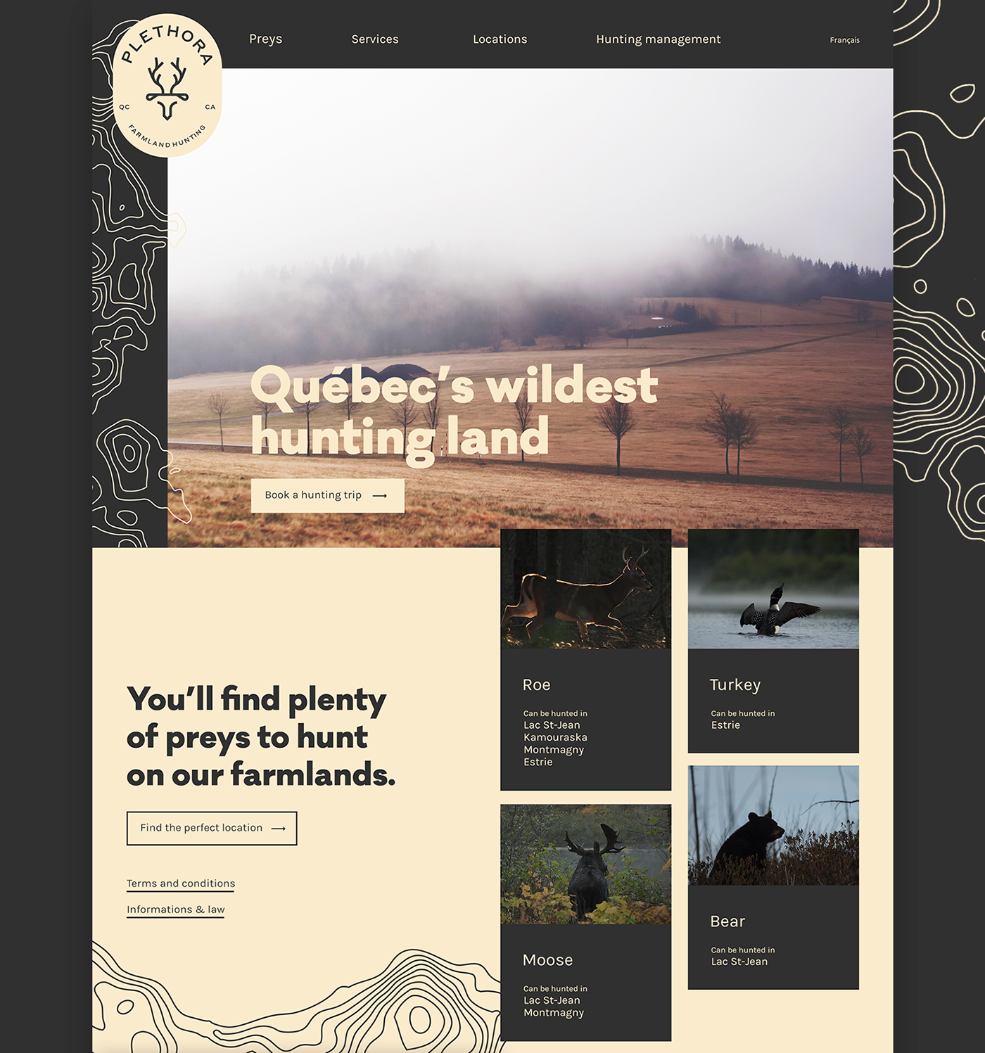 Hunting chasse identity ux UI branding  Retro farm land prey