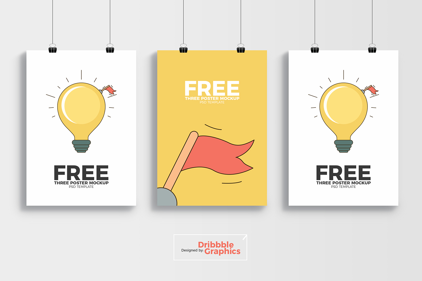 free 3 poster mockup psd template on behance