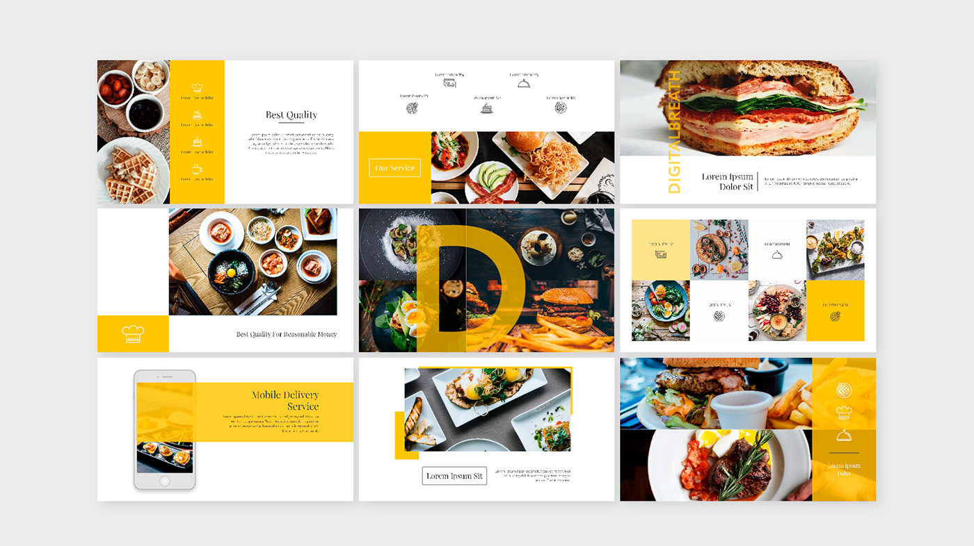 templates presentation Food  Media Kit slides bundle digital breathe design Powerpoint Keynote