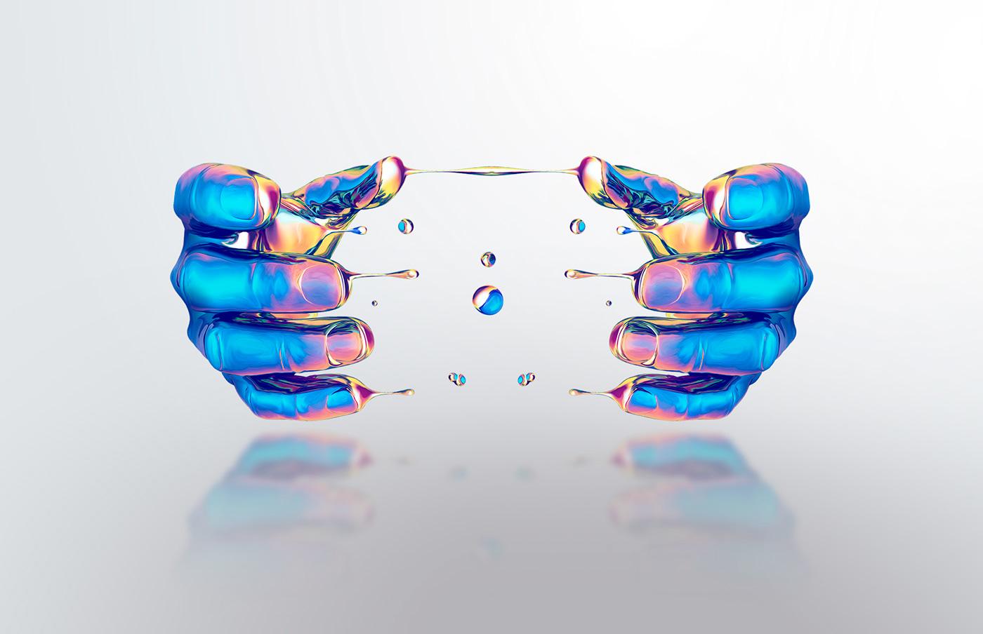 chrome Liquid ILLUSTRATION  graphic design wacom Intuos
