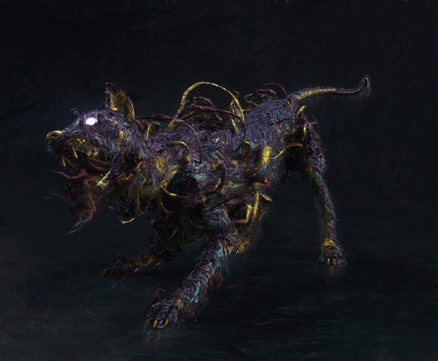 3D Character design  dark art fusion grotesk horror movie mythic