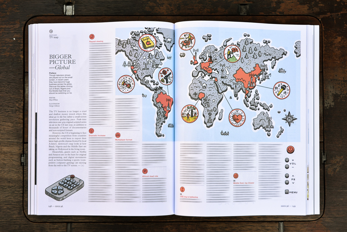World map infographic monocle magazine on behance the final world map with highlited areas in red which are mentioned in the article gumiabroncs Image collections