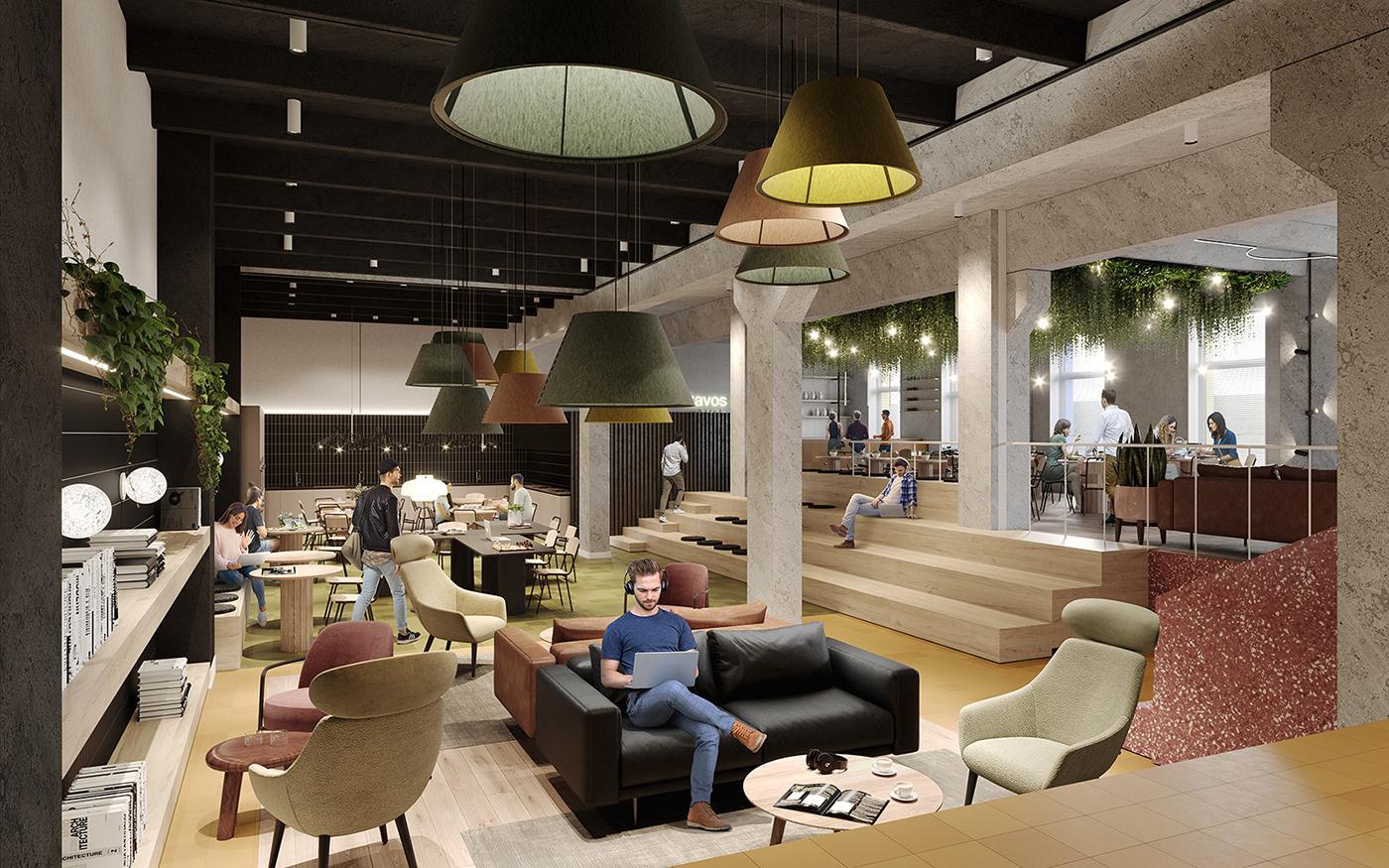 3D architecture archviz CGI digital illustration Interior Render visualization co-living co-working