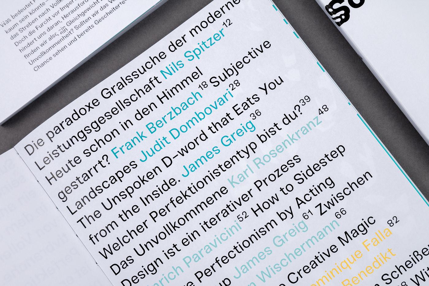 perfectionism infographics magazine typography   print bookazine Buchgestaltung Perfektionismus scheitern Kreativbranche
