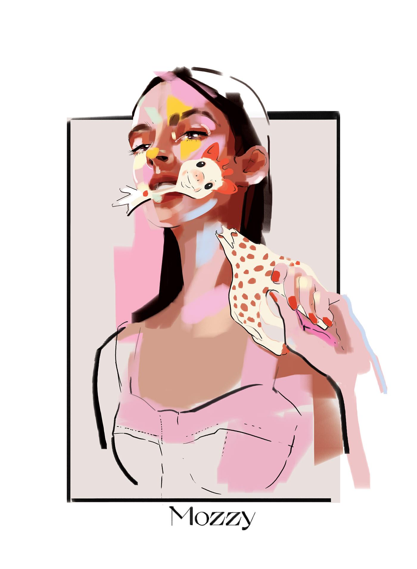angry Fashion  fashion illustration giraffe ILLUSTRATION  mother motherhood painting   sketch woman