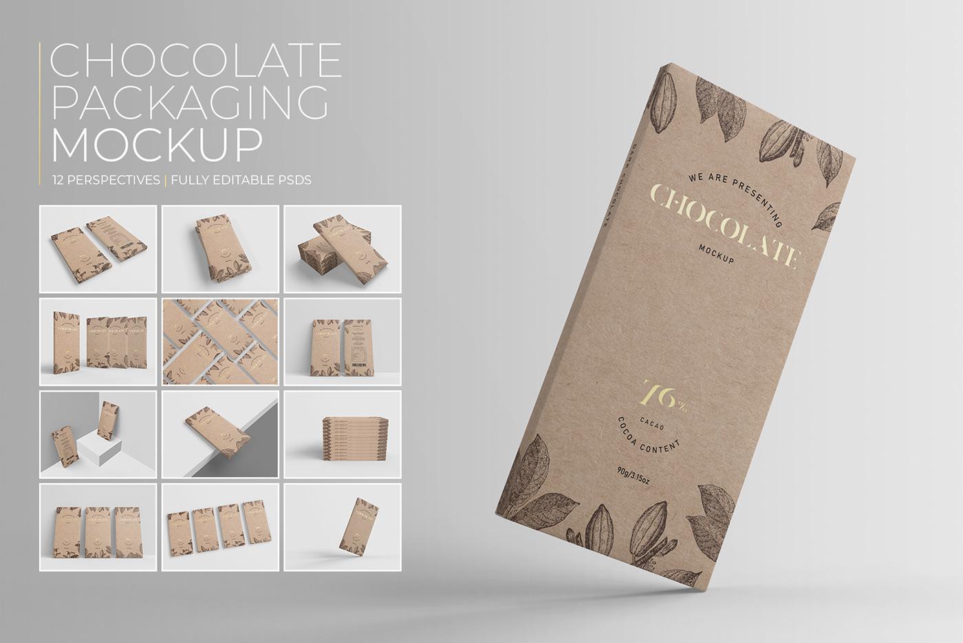 box cardboard chocolate mock up Mockup Packaging pro psd stack