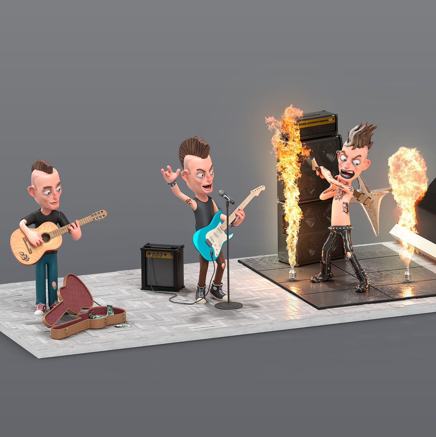 Image may contain: cartoon, musical instrument and guitar