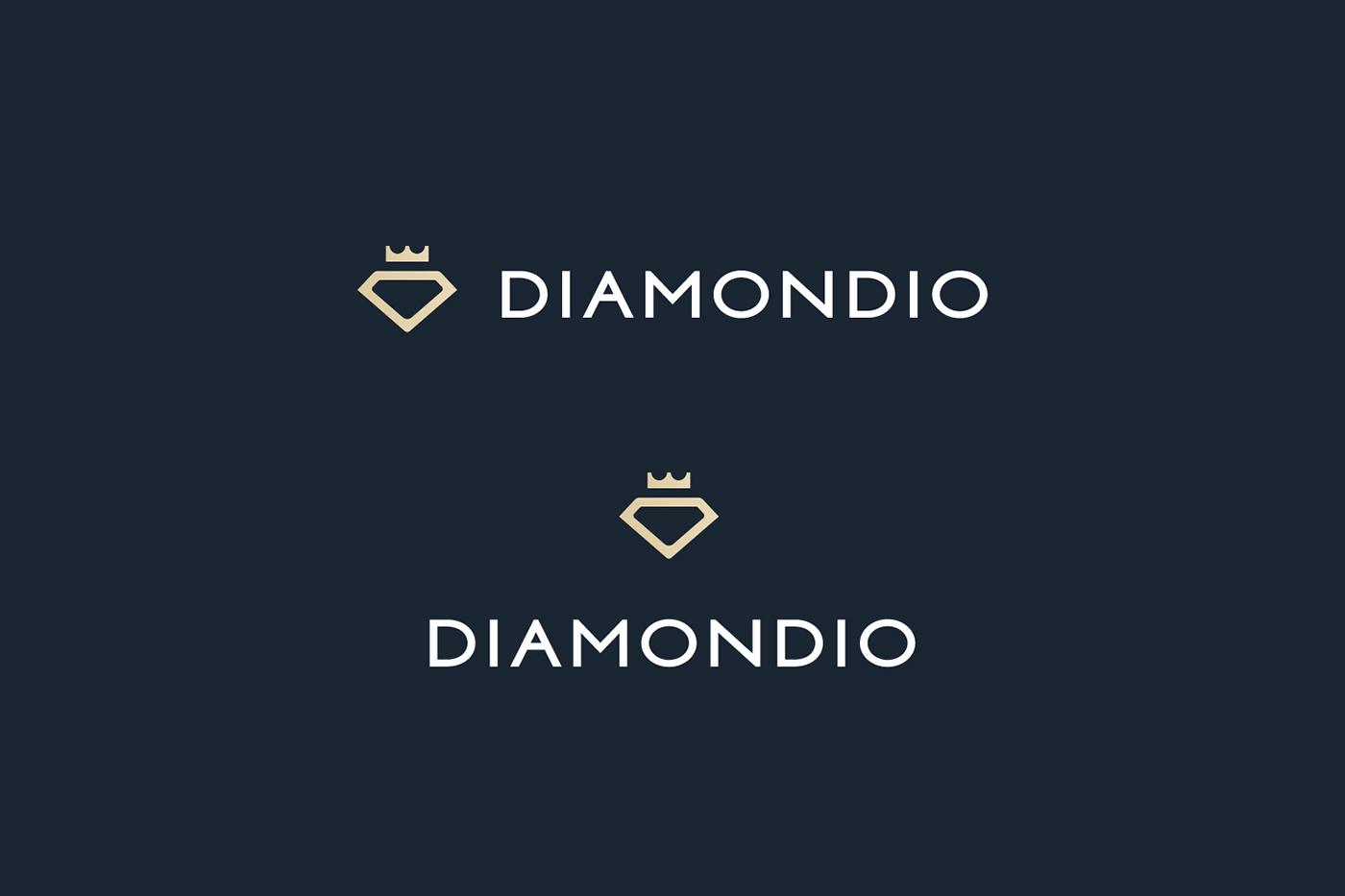 Diamondio.com Diamondio Logo Design logo diamond  symbol mark RadekBlaska RadekBlaska.com for sale Domain Custom type Typeface