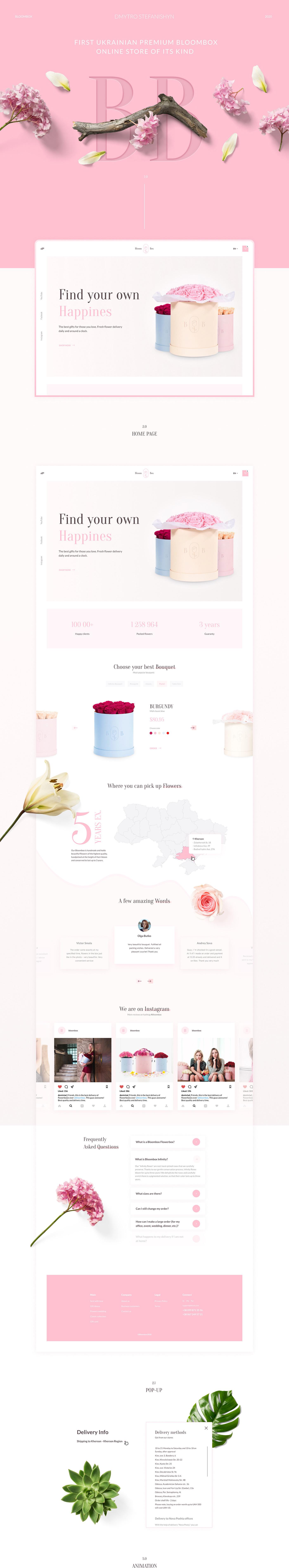 flower shop site clean minimal fullscreen ui ux delivery landing page Website