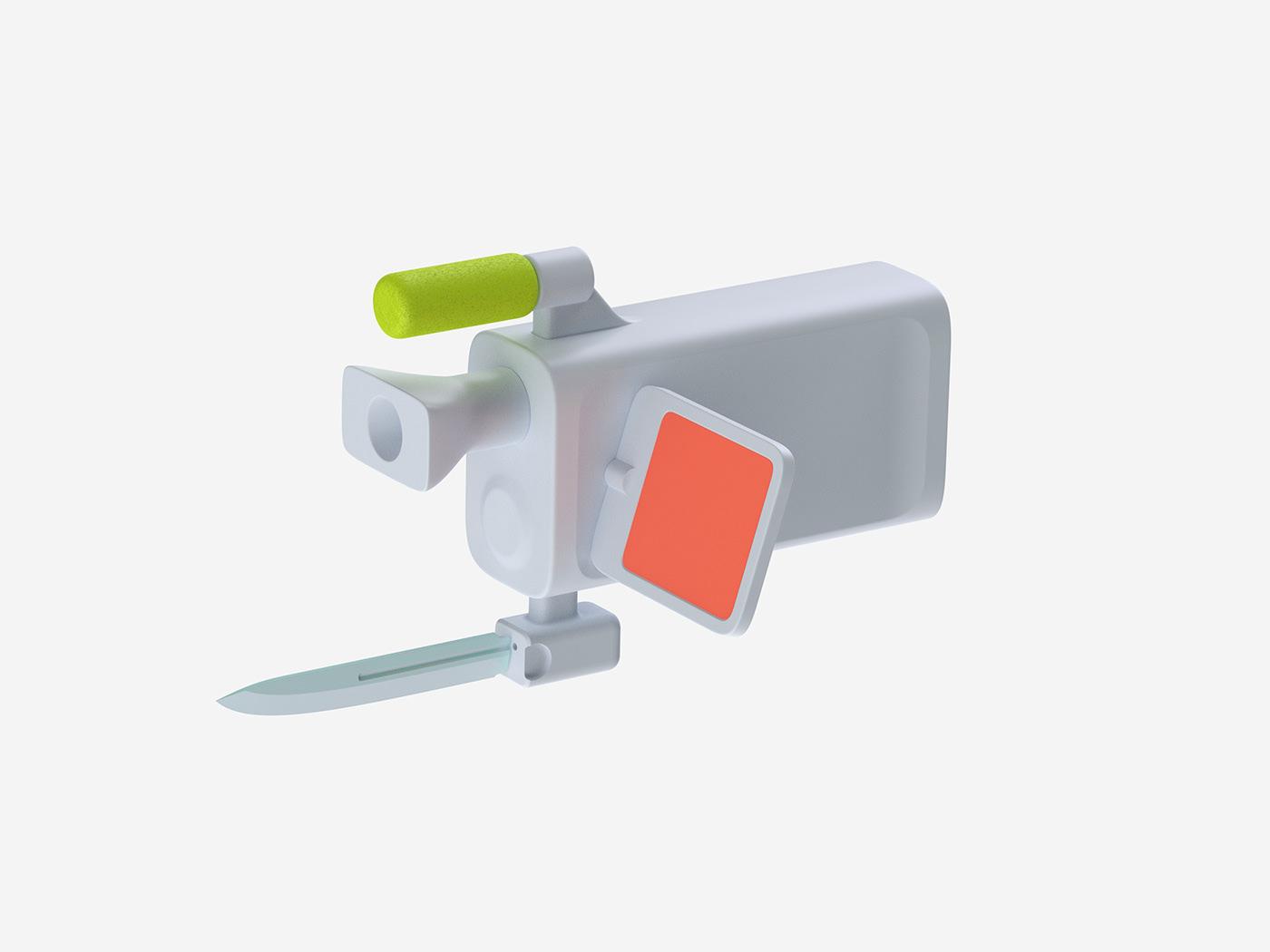 design minimal color apple industrial speculative art critical sculpture keyshot
