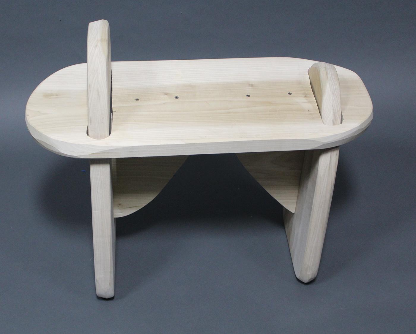 wood popular bench box sculpture masonite walnut