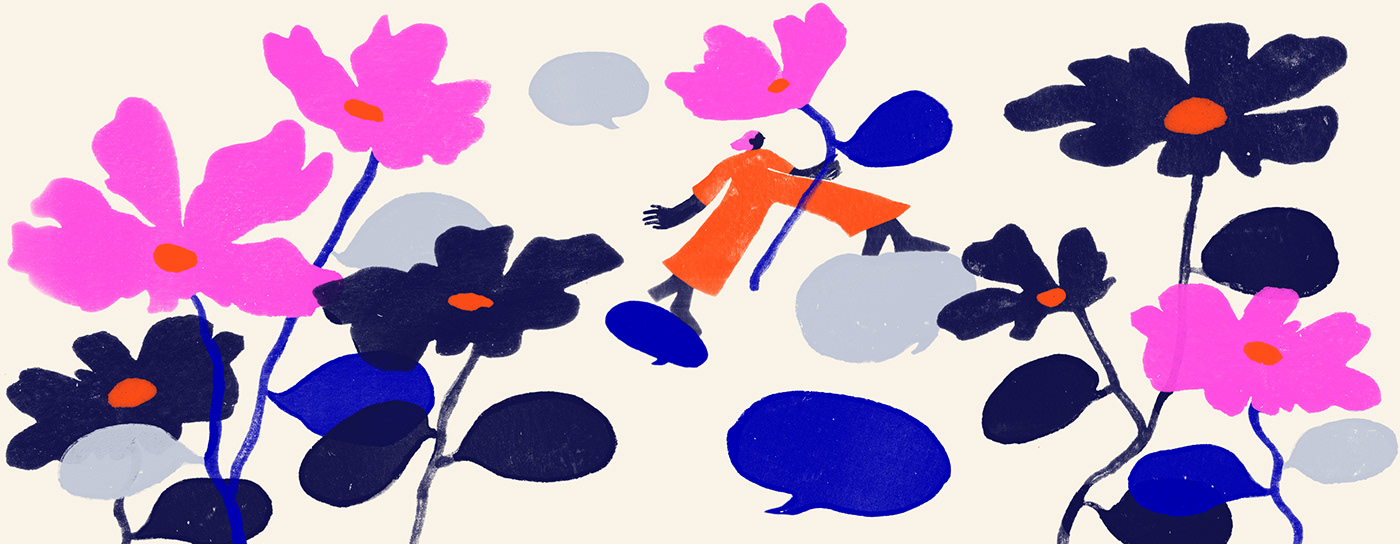 Blog comments editorial Flowers gouache ILLUSTRATION  Managing negative feedback officevibe painting