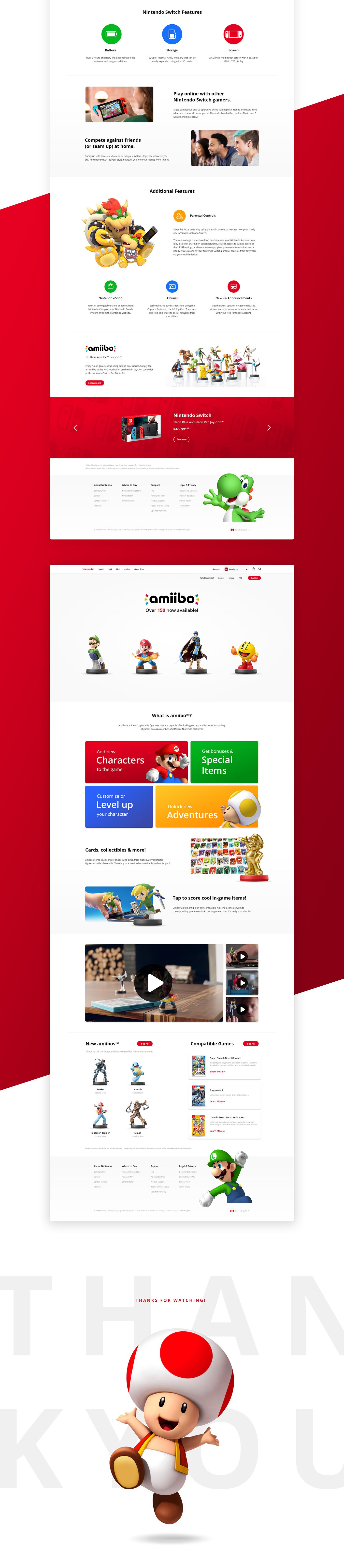 Nintendo switch Website logo concept redesign mario UI ux Gaming