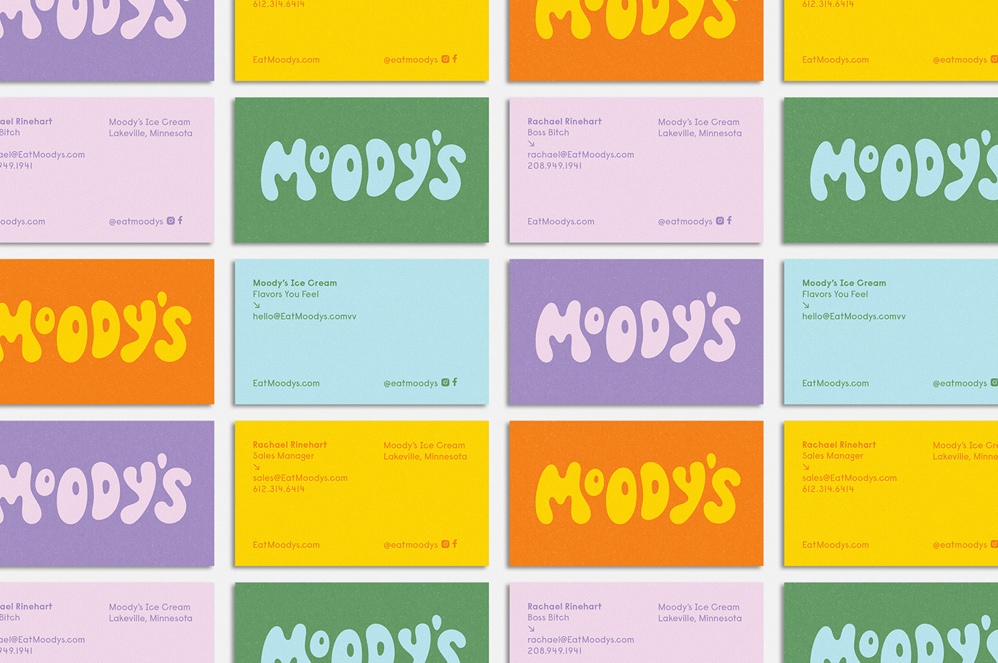 Business cards for Moody's designed by Abby Haddican Studio
