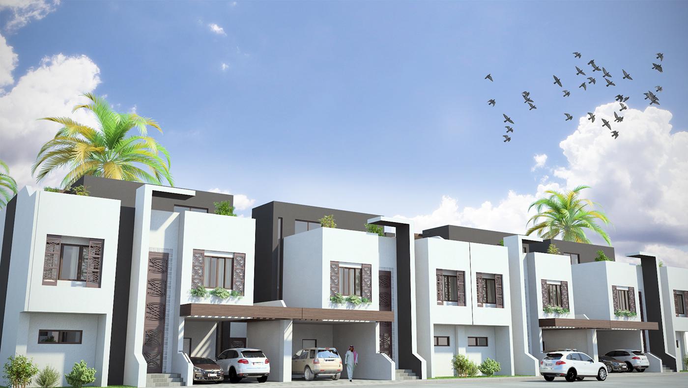 contemporary arabic visualisation compound Qatar doha HOUSE DESIGN sea
