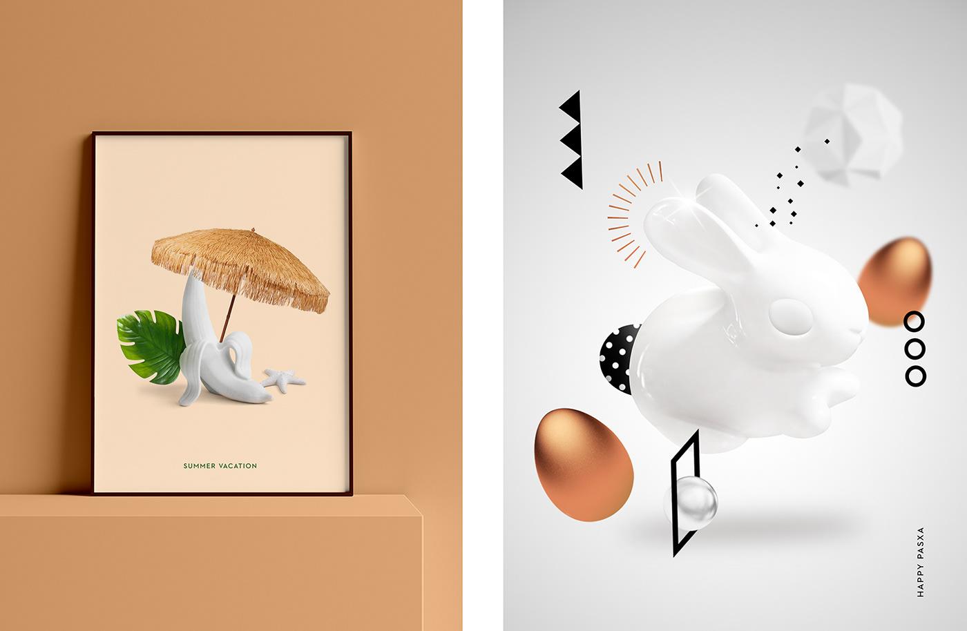 artworks cards Christmas Easter geometric graphic design  greeting holidays ILLUSTRATION  xmas