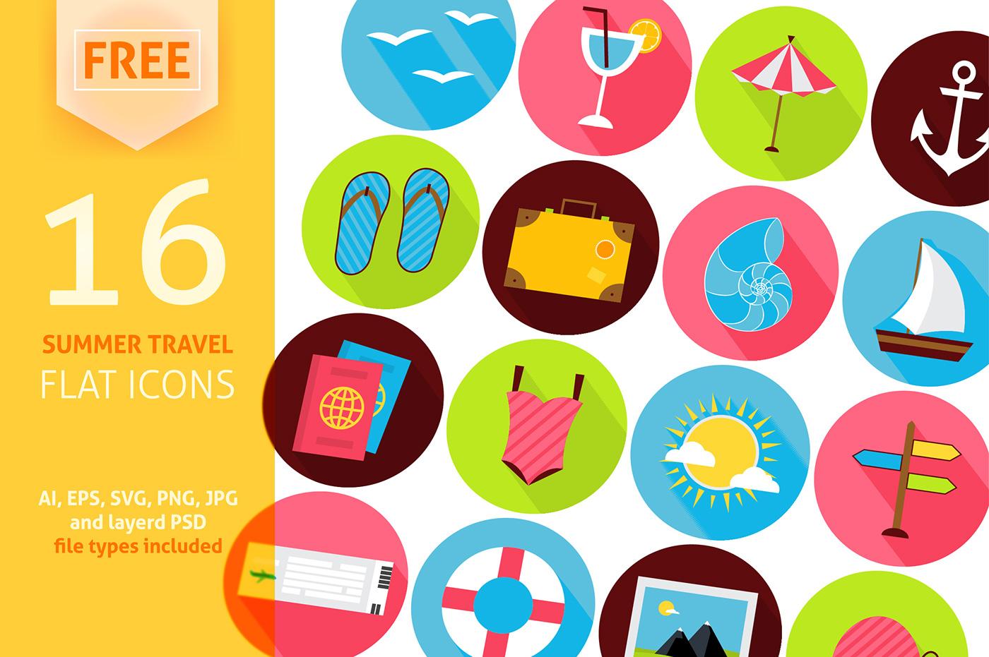 16 Free Summer Travel Icons PSD | Psdblast