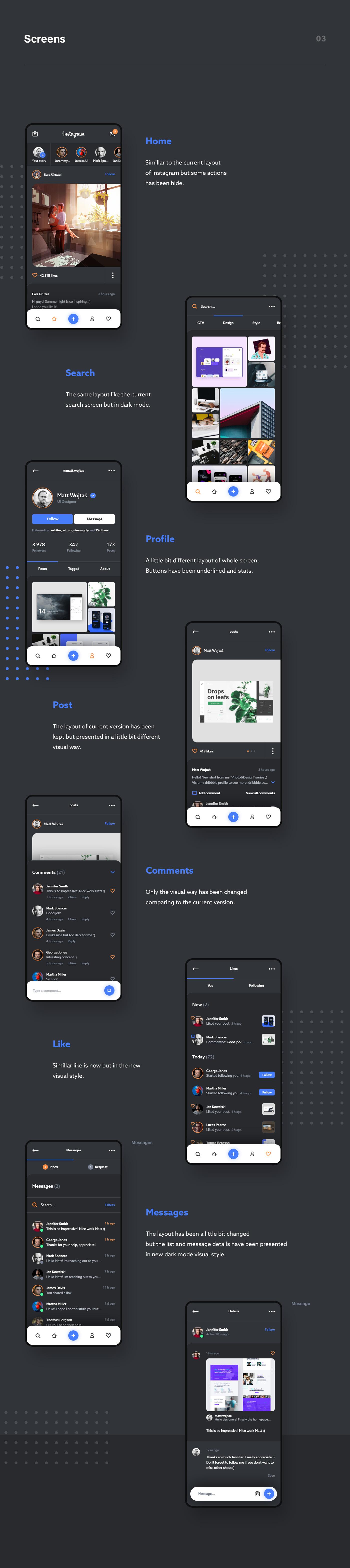 instagram dark app mobile social post message Chat application phone