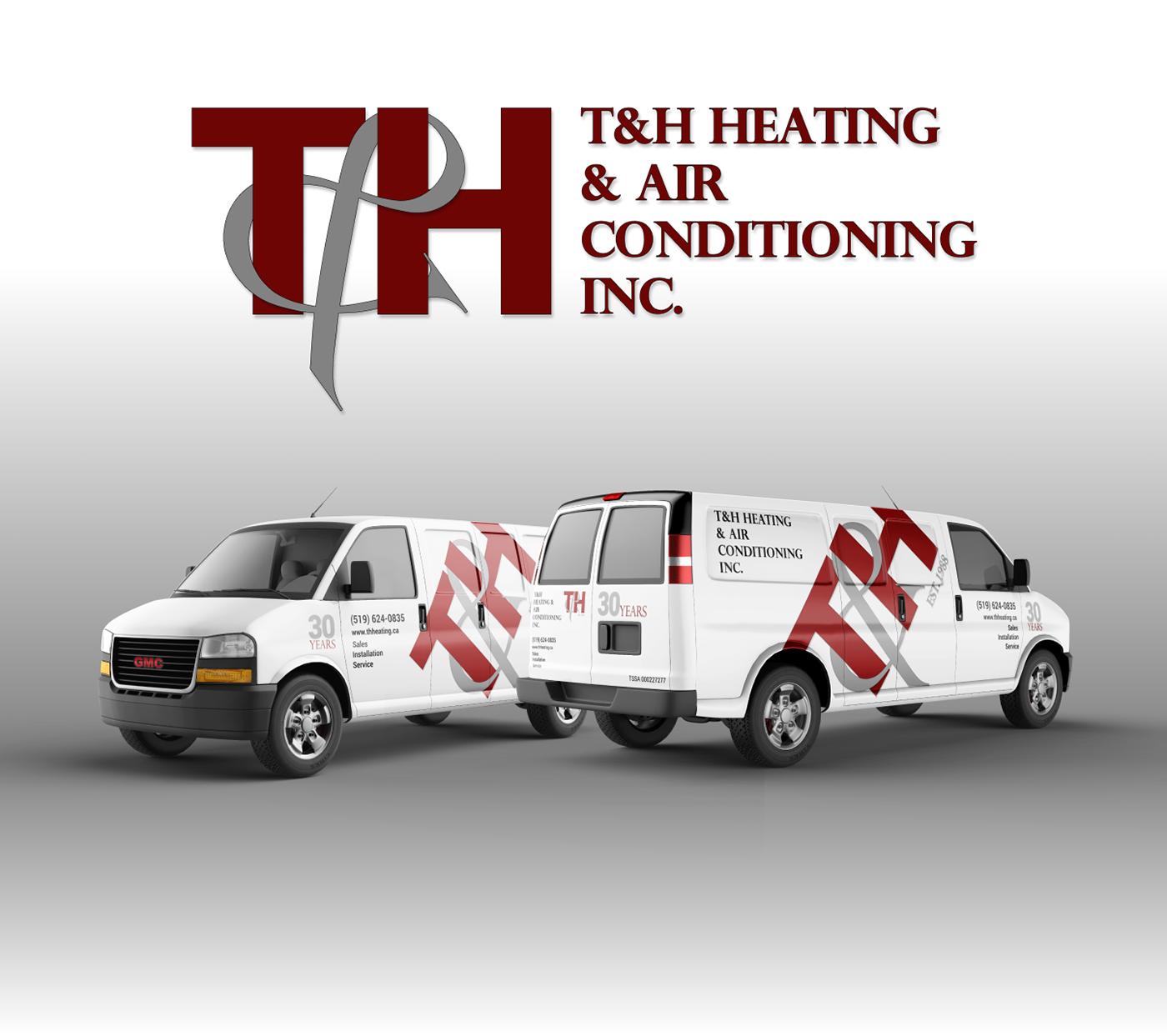 heating HVAC company Small Business graphic design  branding  logo mockups small biz
