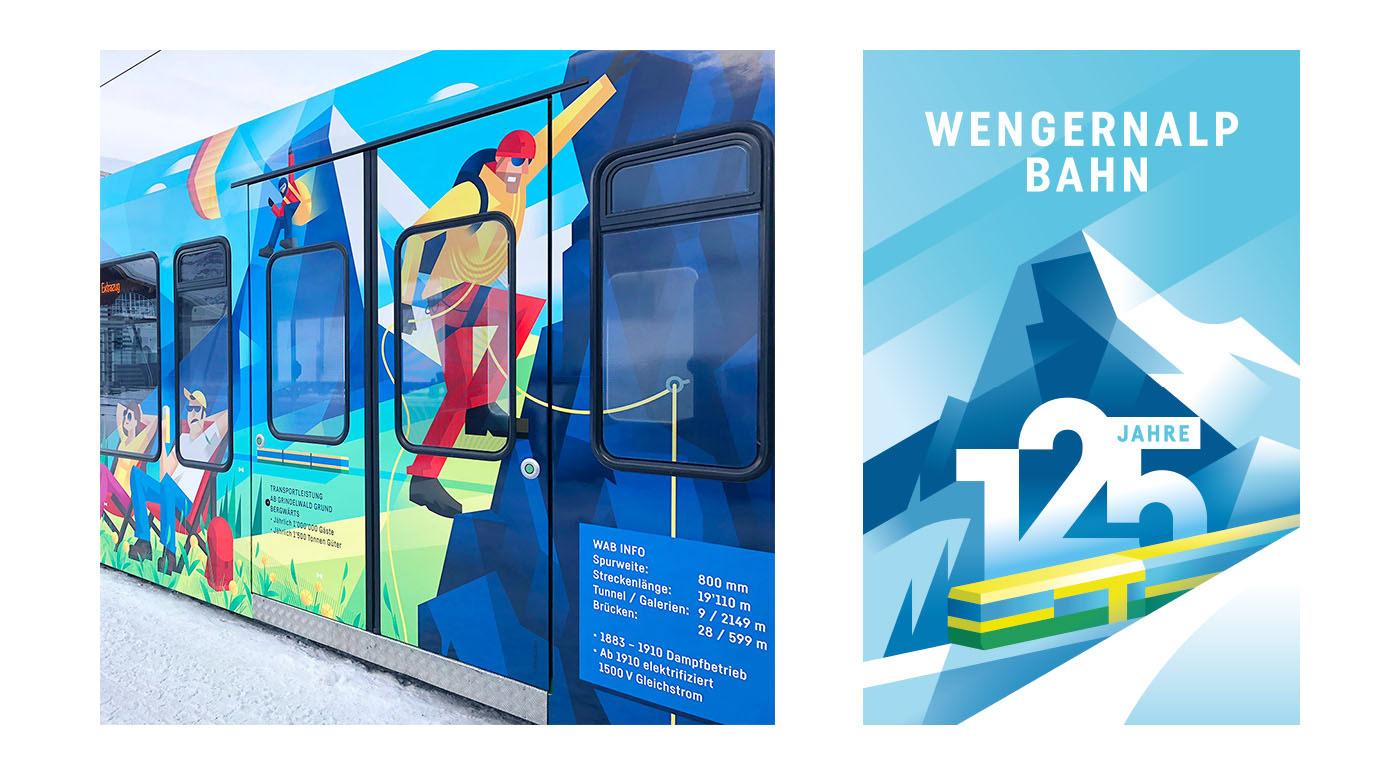 Jungfraubahnen,topofeurope,ILLUSTRATION ,Beschriftung,logo,train,bergbahn,125 Jahre,traindesign,Lauberhorn