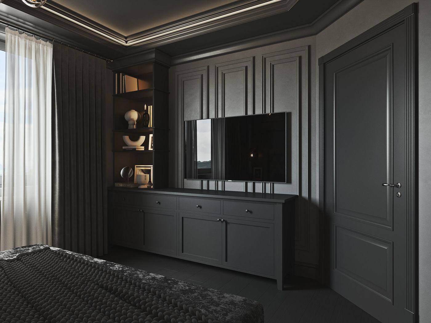 bedroom dark grey wainscoting