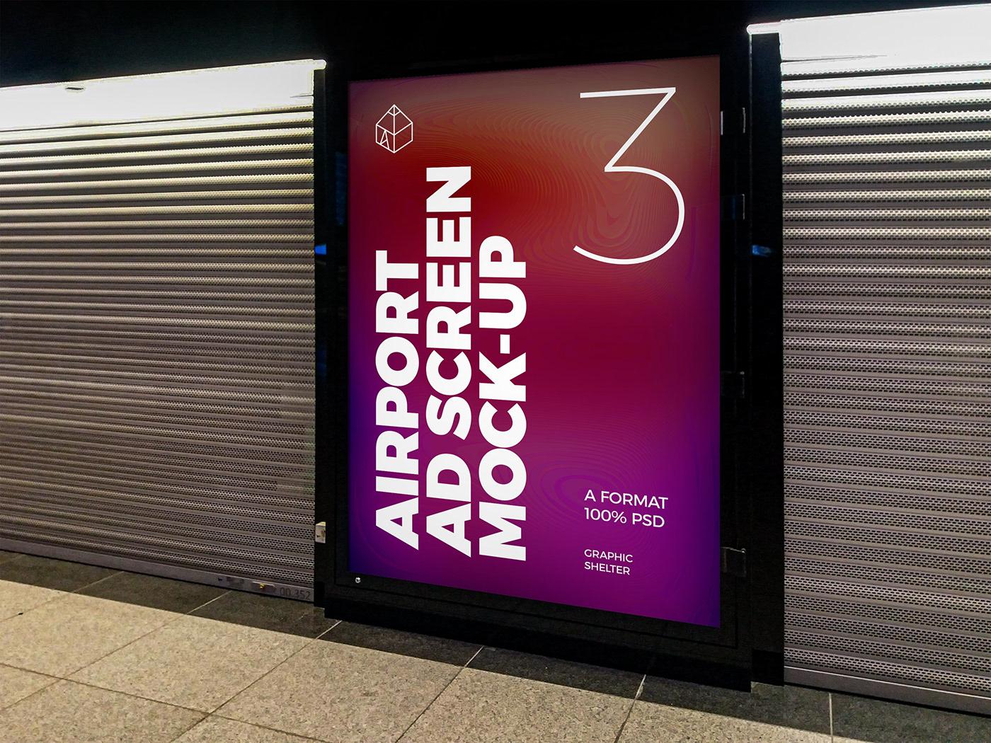 ad advertisement Advertising  airport design mock-up Mockup port poster screen