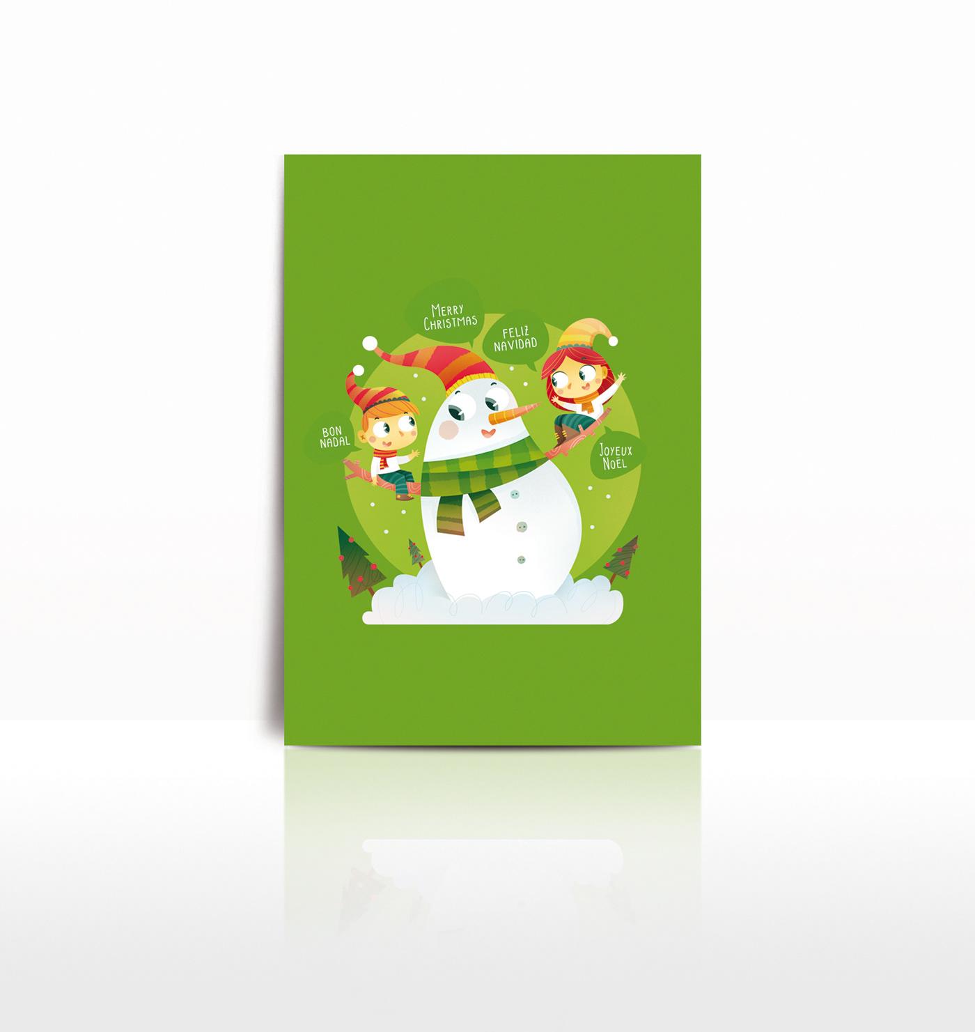 ilustracion ilustración infantil navidad Muñeco nieve niños Christmas nieve