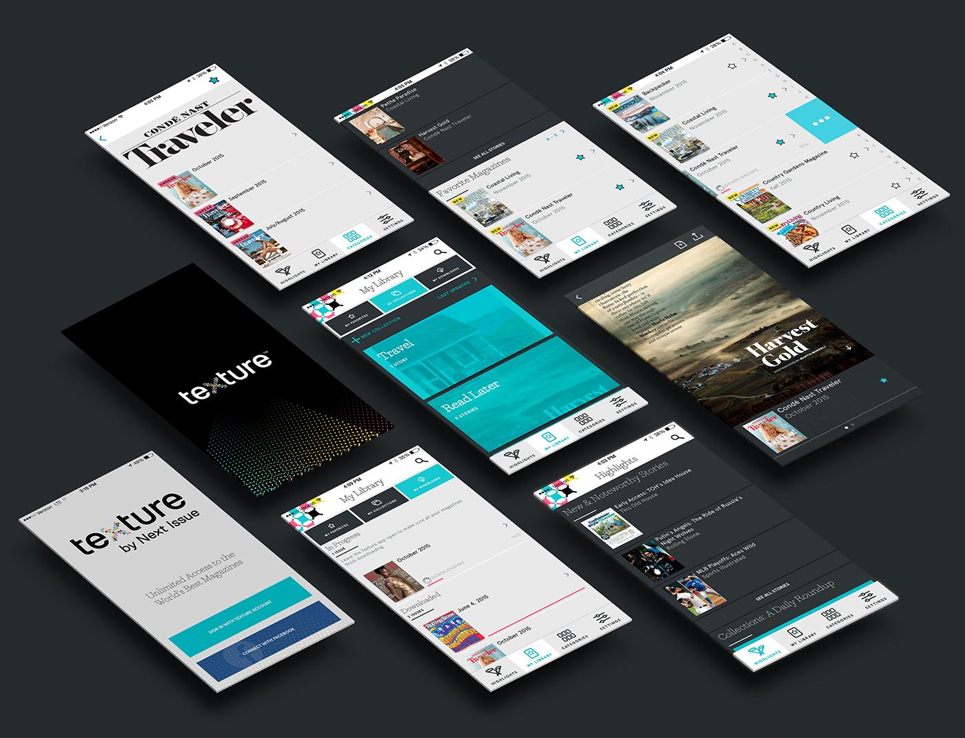 metadesign MetaDesignSF san francisco texture Next Issue Media Brand Design app design motion design iPad App Mobile app magazines interface design UI ux Modular branding
