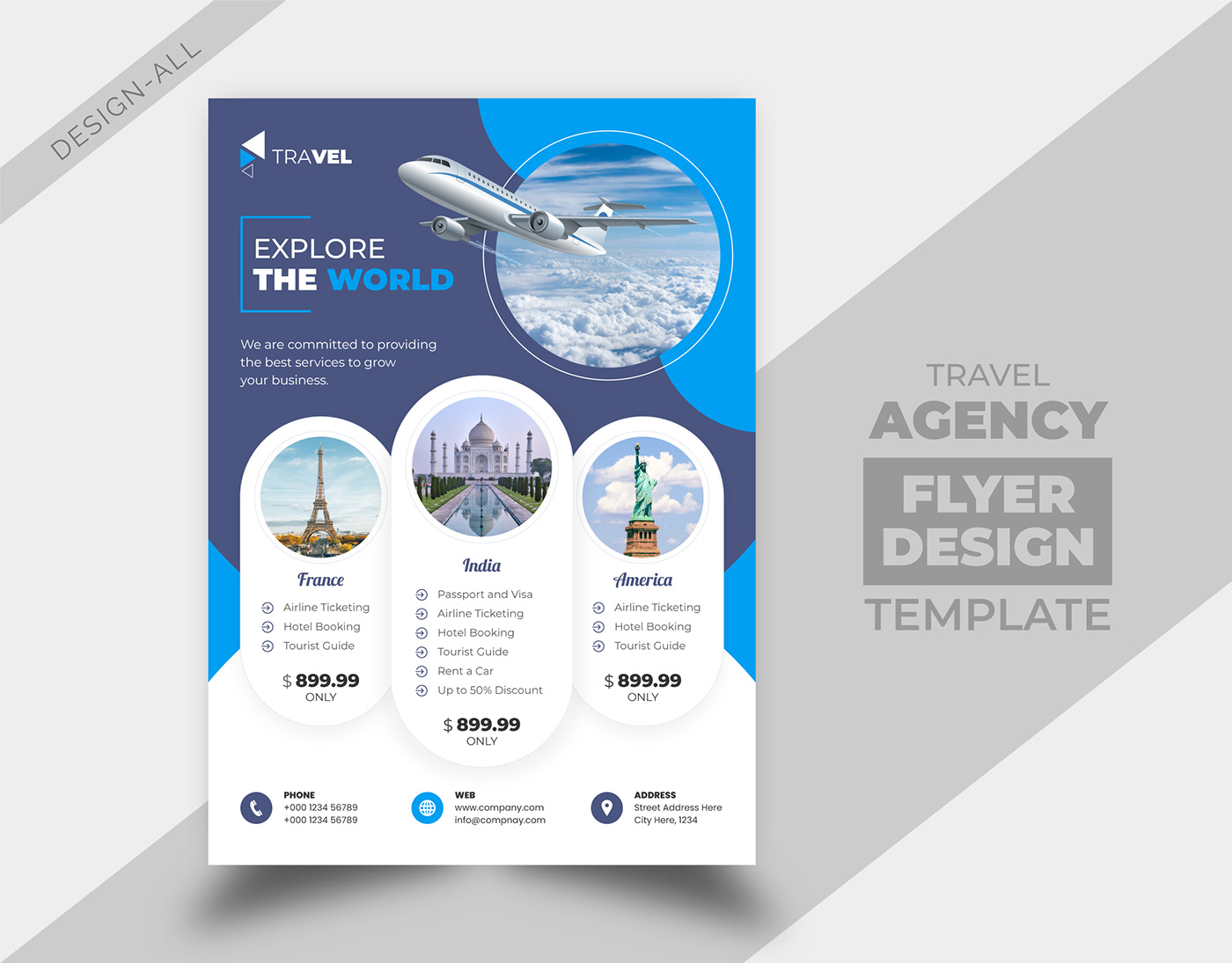 agency artwork brochure cover design flyer magazine poster template Travel
