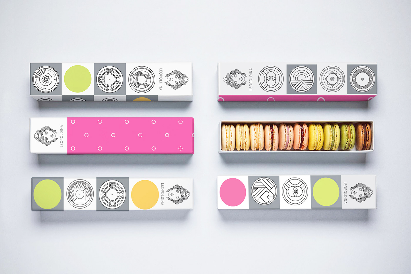 macarons restaurants pink logo illustrations Patterns visual identity Bojana Knezevic design Packaging