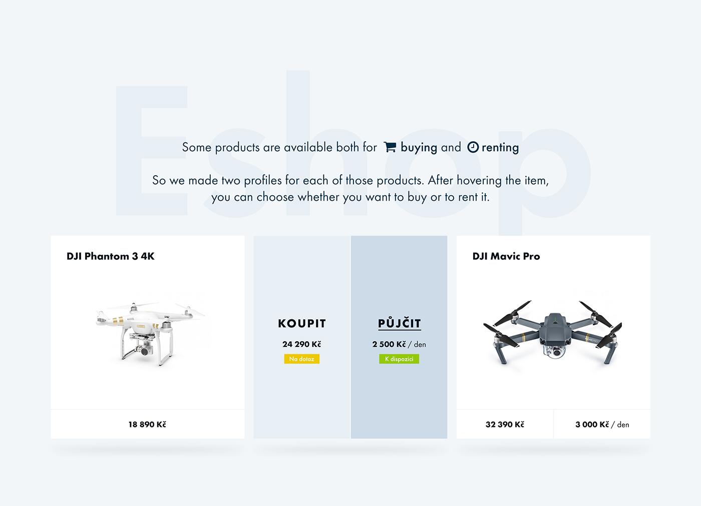drone creative Webdesign ux UI blue eshop dronpro shooting clean