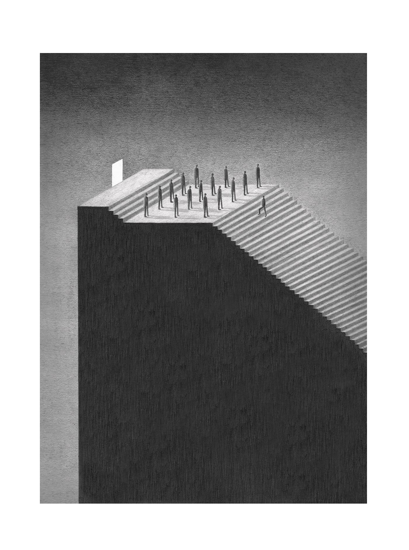Image may contain: black and white, monochrome and skyscraper