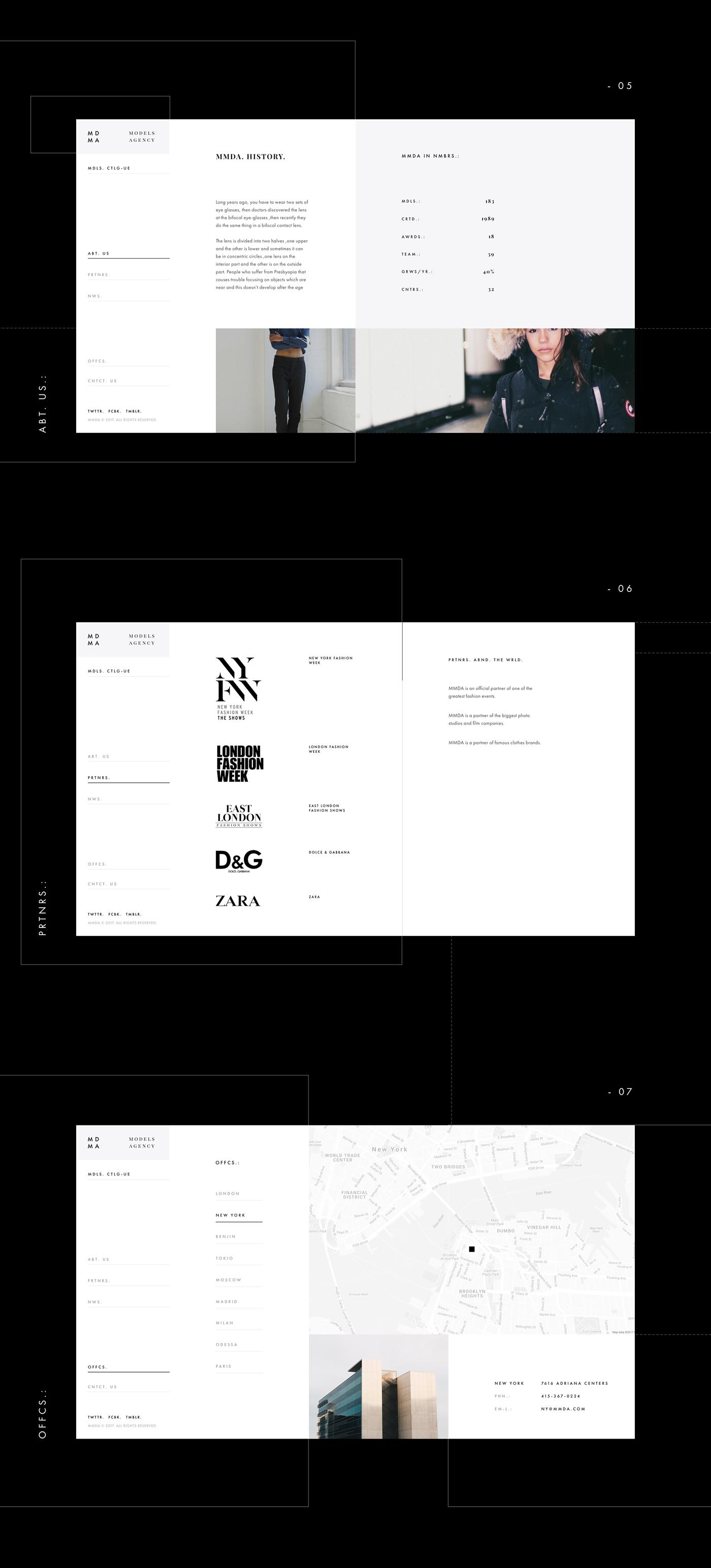 model Fashion  Website corporate portfolio UI Catalogue black and white agency design
