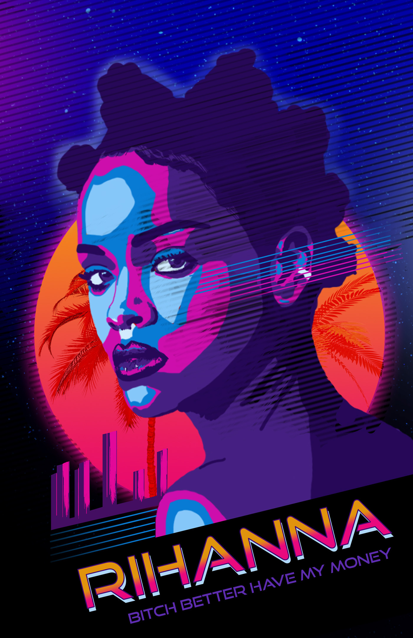 posters_80s Miami Poster Design with Rihanna on Behance