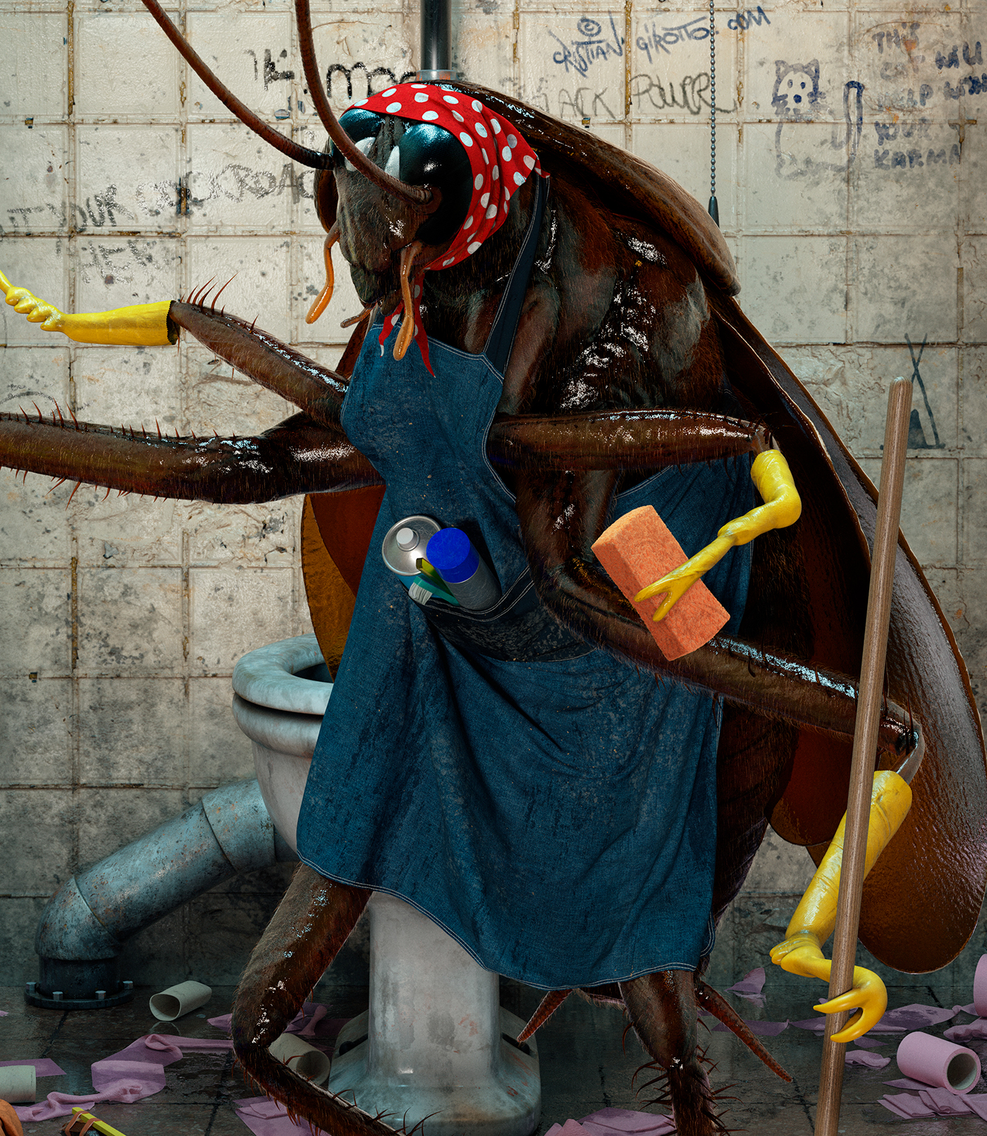 cockroach Digital Art  toilets cinema 4d Zbrush cleaning services